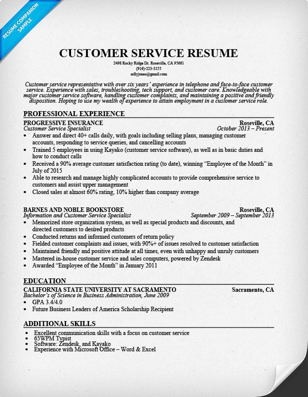 Customer Service Resume Sample  Good Customer Service Resume