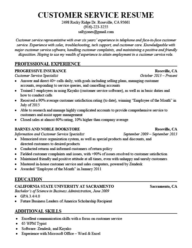 Customer Service Resume Sample Companion