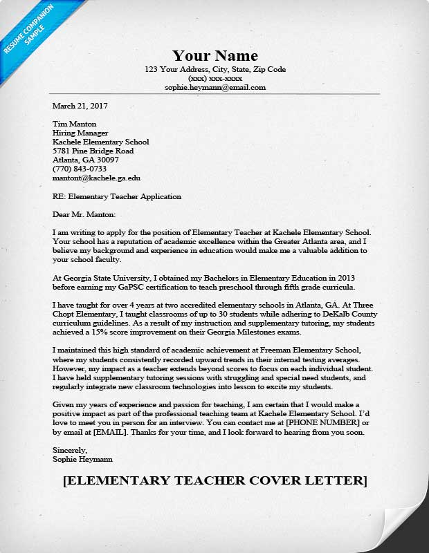elementary teacher cover letter
