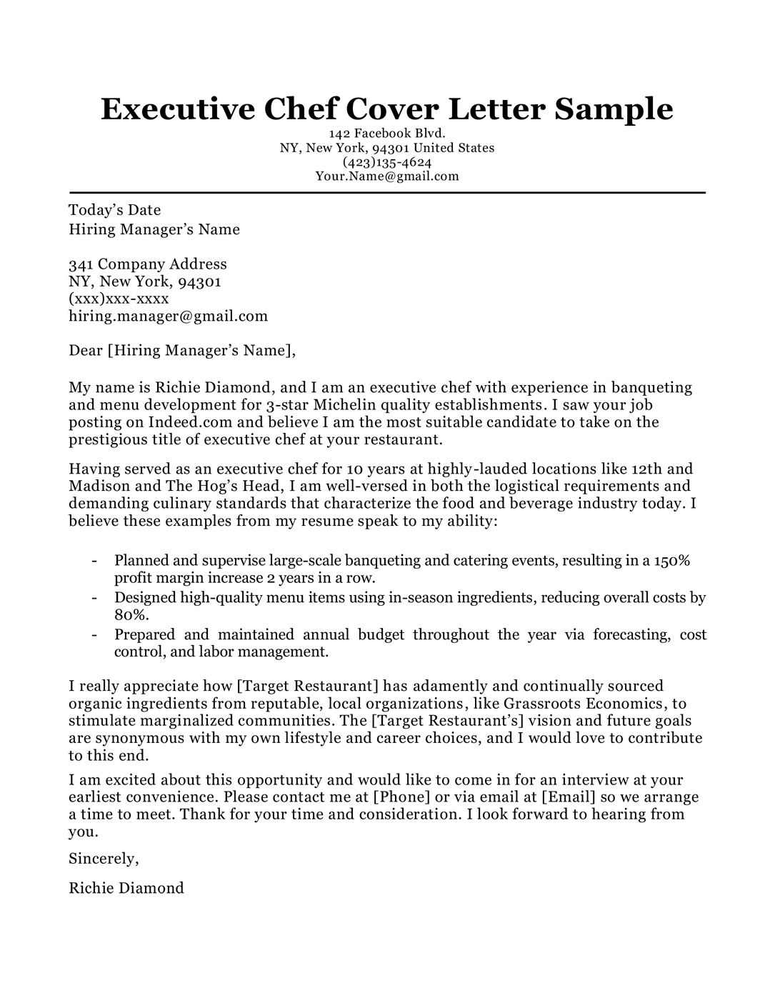Executive chef cover letter sample