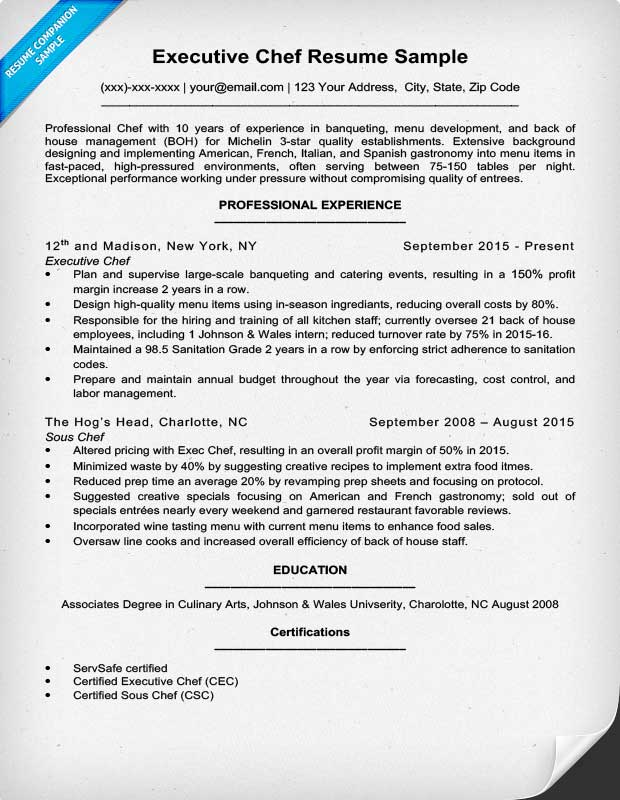 Exceptional Executive Chef Resume And Head Chef Resume