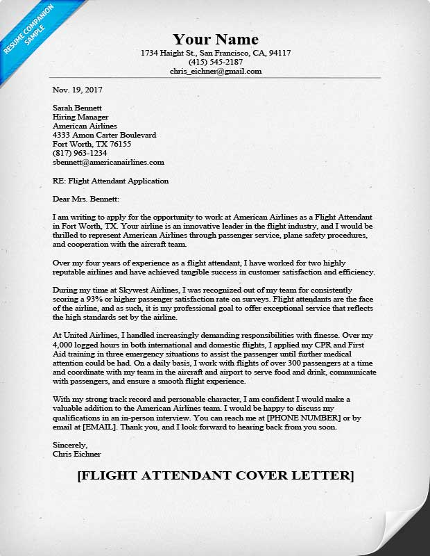 flight attendant cover letter - Application Cover Letters