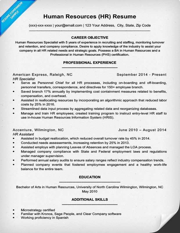 HR Human Resources Resume Example  Human Resources Skills Resume