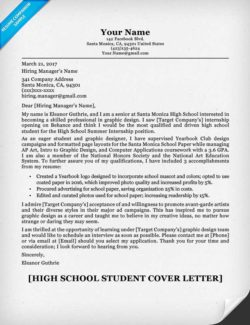 High School Student Cover Letter Sample  Student Resume