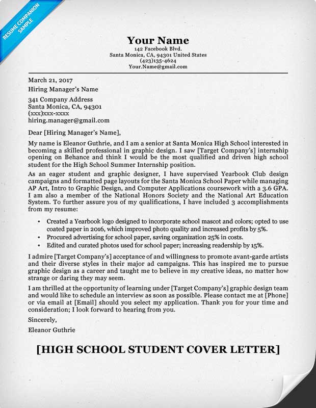 High School Student Cover Letter Sample Guide ResumeCompanion - Cover Letter Examples For Resume