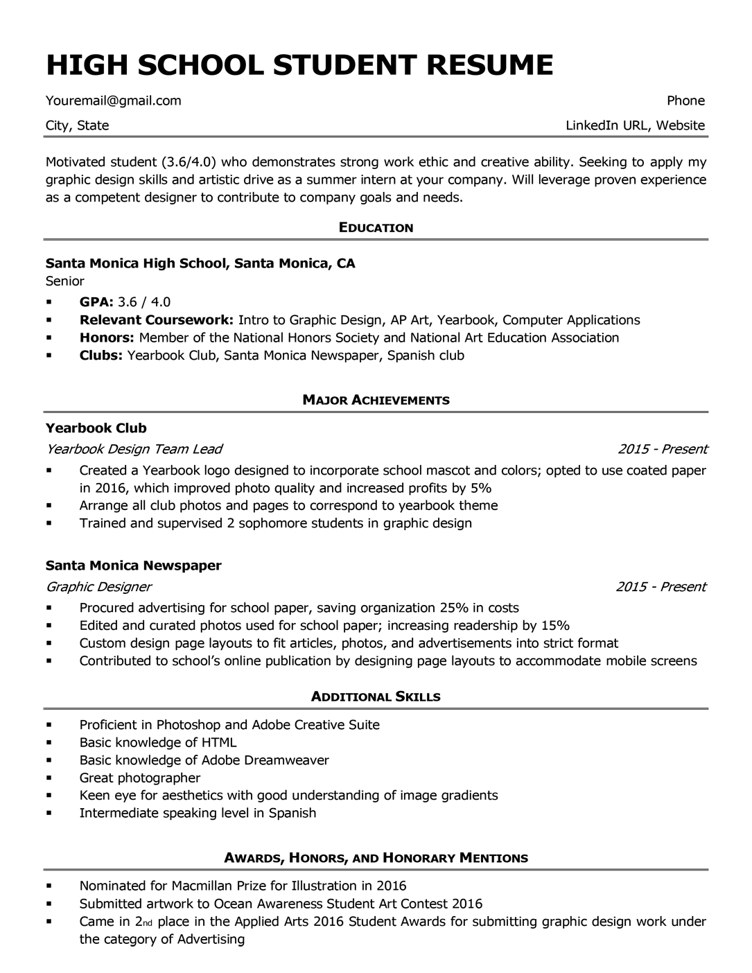 High school student resume sample