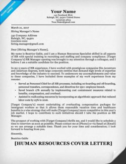 Human Resources Cover Letter Example