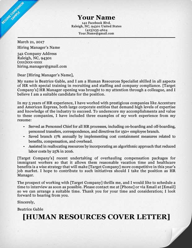Human Resources Cover Letter  Sample Cover Letter For Human Resources Position