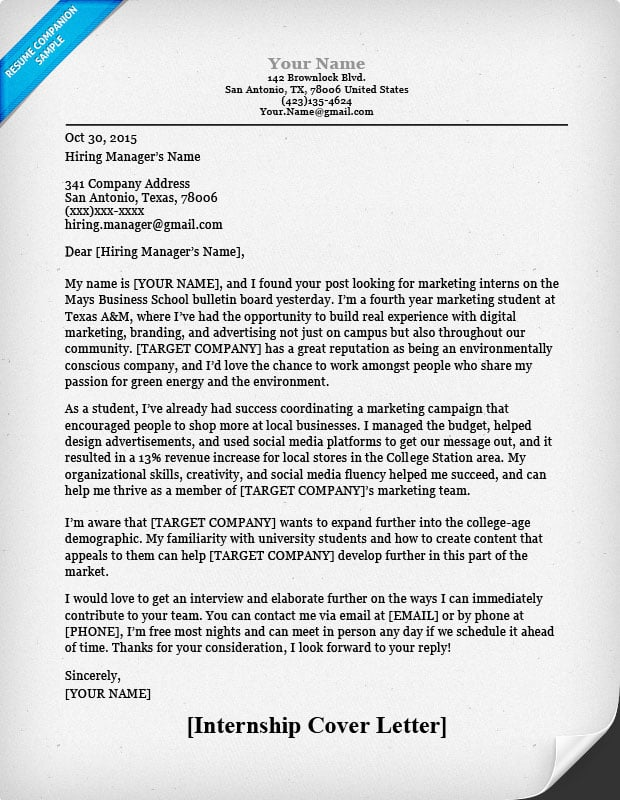 College Student Cover Letter Sample (Image)  Cover Letter Help