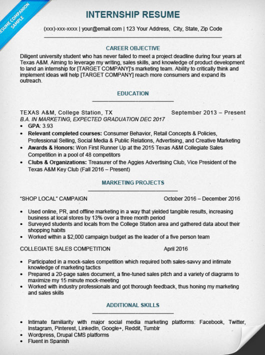 college student resume sample writing tips resume companion - Internship Resume Examples