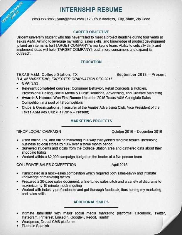 Superb Resume For Internship On Resume For Internship College Student