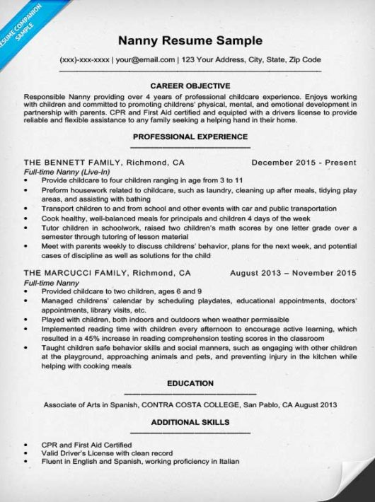 Nanny Cover Letter · Resume Sample For Nanny  How To Make Resume Cover Letter