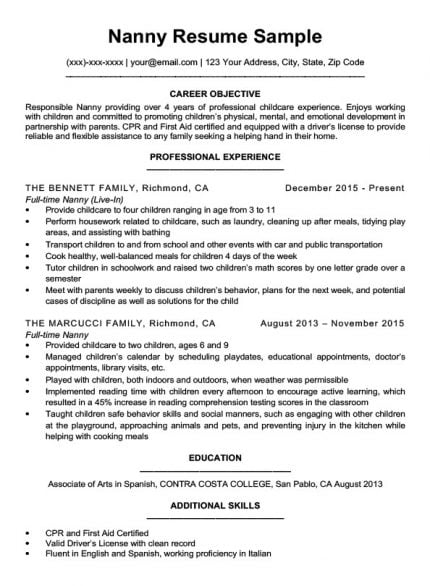 nanny resume sample download