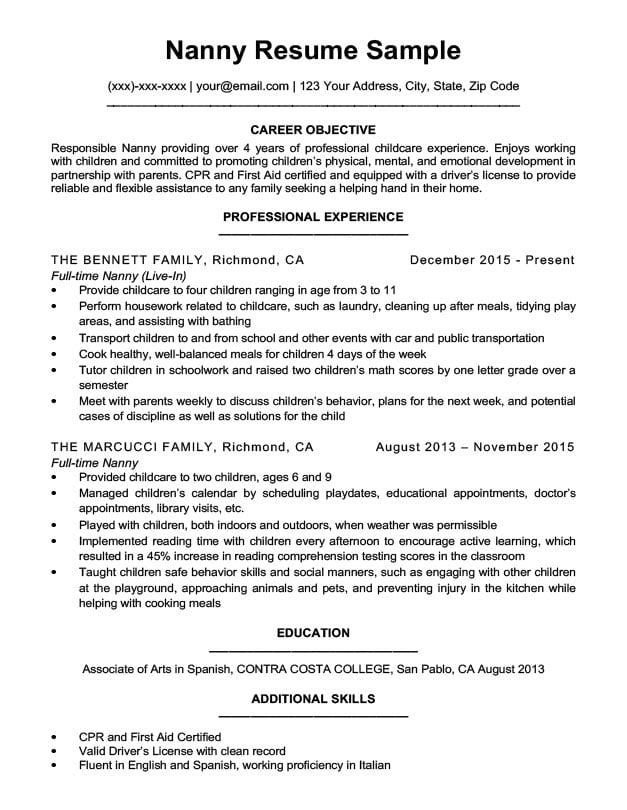 nanny resume sample  u0026 writing tips