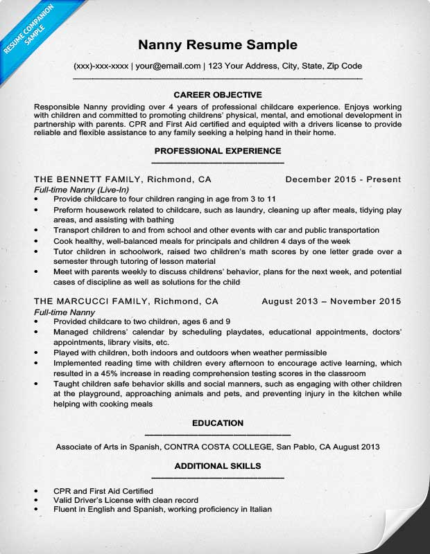 Superb Resume Sample For Nanny  Nanny Resume Objective