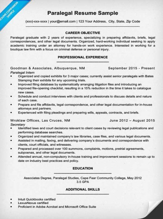 paralegal resume sample writing tips resume companion