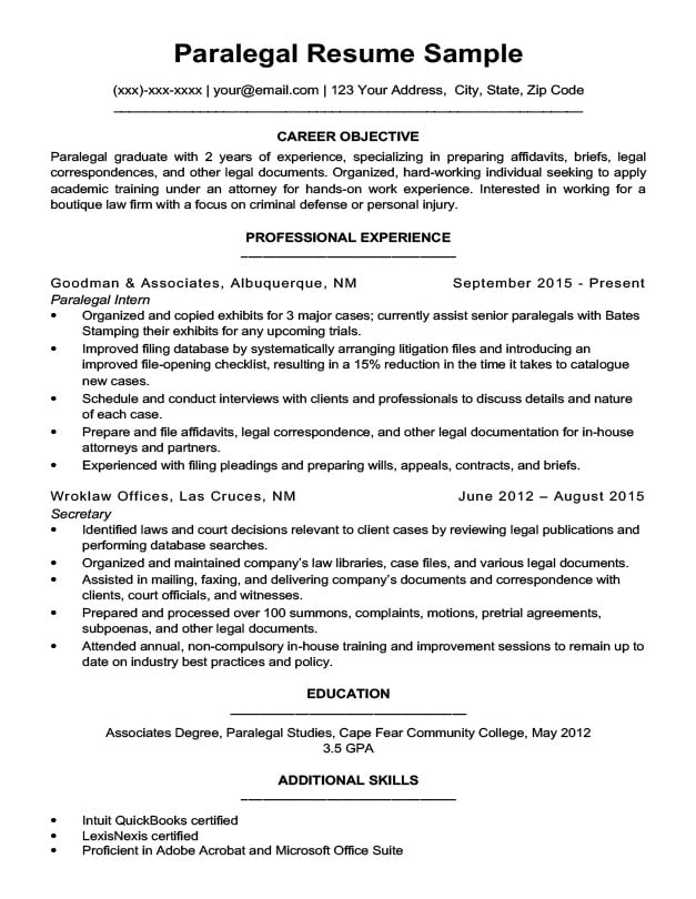 Paralegal Resume Sample Writing Tips