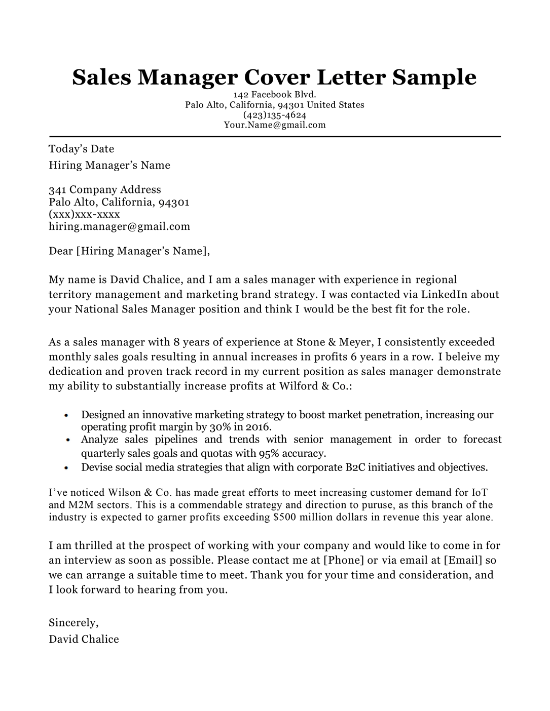 Manager Cover Letter Templates from resumecompanion.com