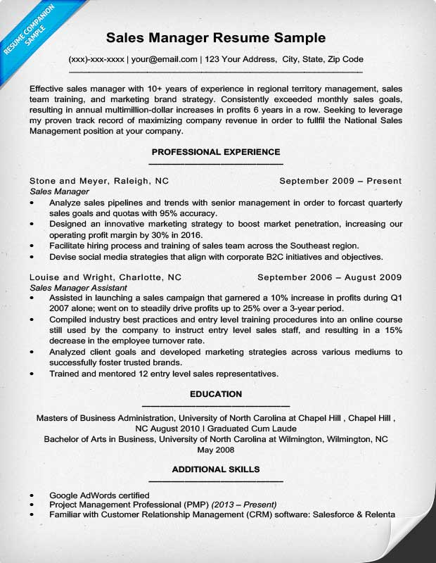 Sales Manager Resume Example  Successful Resume Examples
