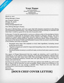 Sous Chef Example of Cover Letter