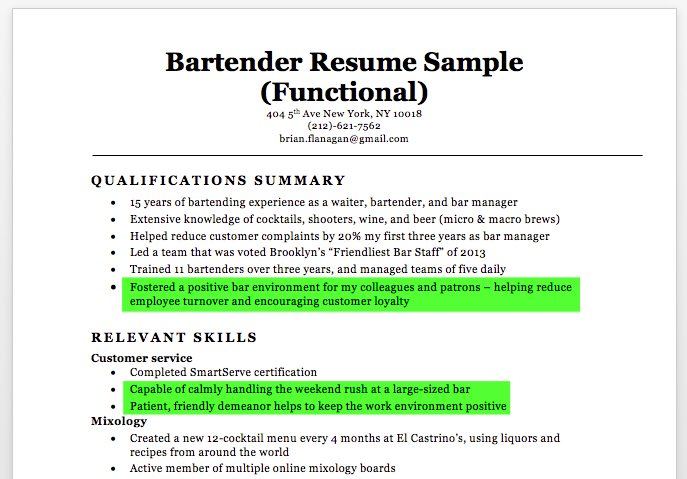 Good Bartender Resume With Highlighted Soft Skills  Bartender Resume Sample