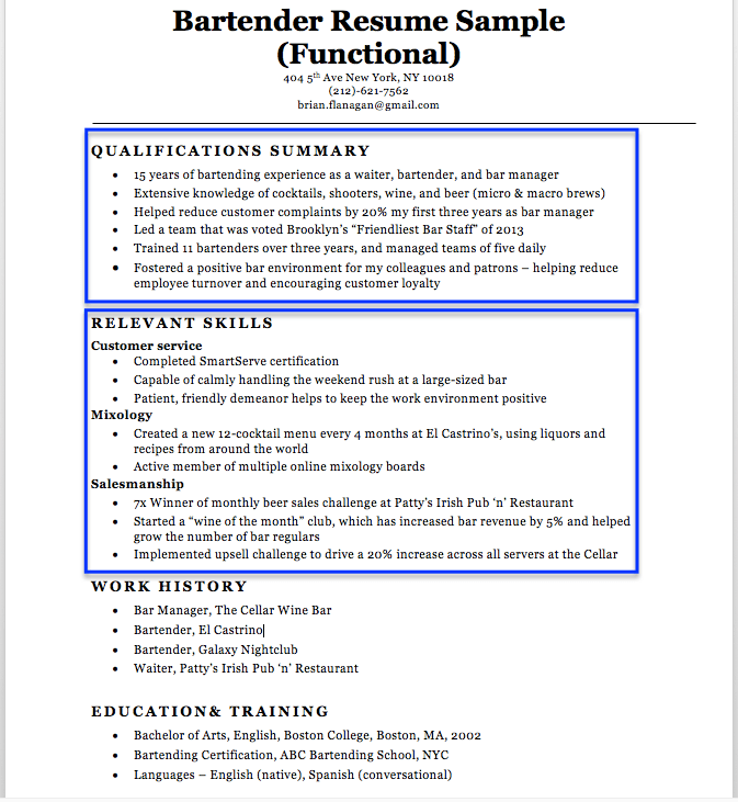 Functional Resume Example  Bartenders Resume