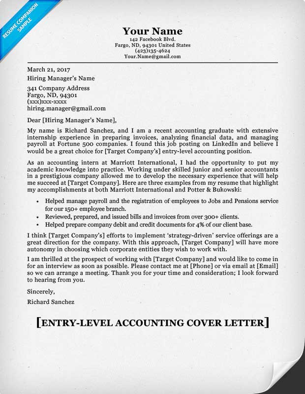 Accounting cover letter cover letter example accounting for Cover letter for entry level accounting position with no experience