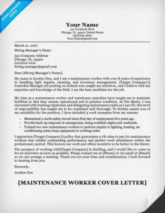 Maintenance-Worker-Cover-Letter-Sample-233x300 Janitorial Resume Format on