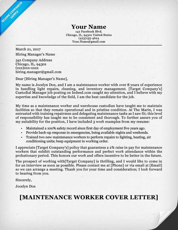 maintenance worker cover letter maintenance worker sample - Work Cover Letter Examples