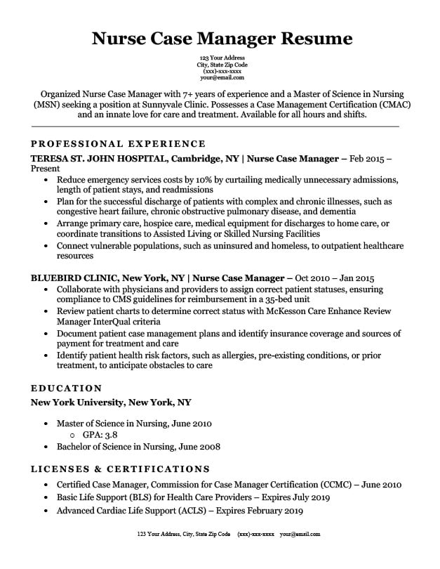 Nurse Case Manager Resume Sample Download