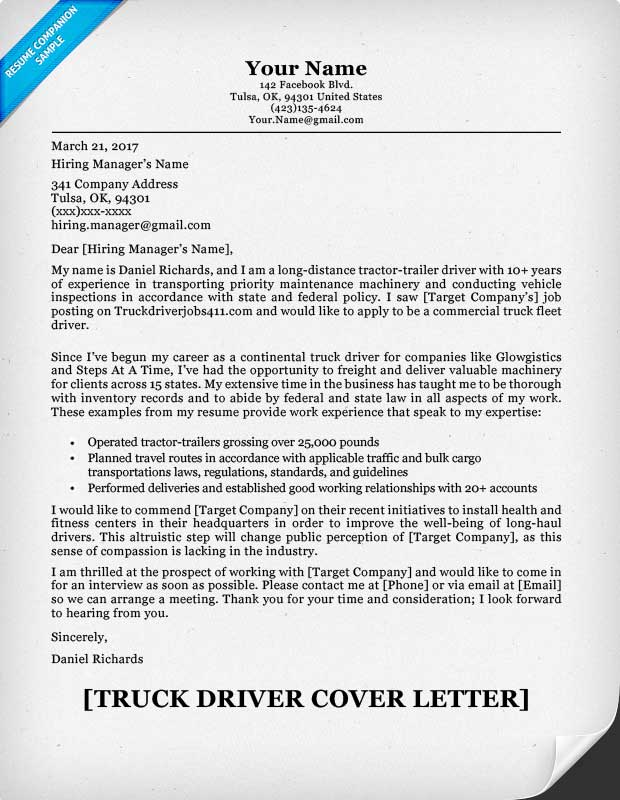 Truck Driver Cover Letter Sample  Resume Companion