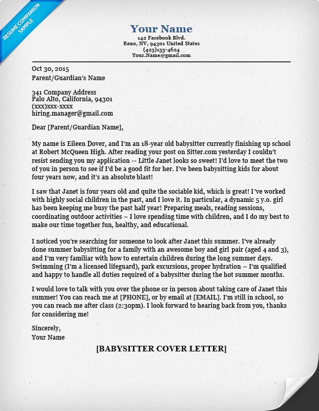 Babysitter Cover Letter  How Do You Make A Cover Letter