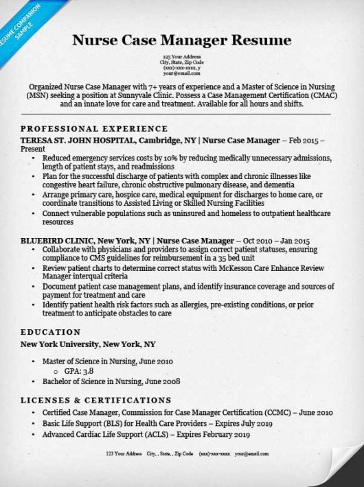 Resume Resume Sample Nurse Manager nurse case manager resume sample companion sample