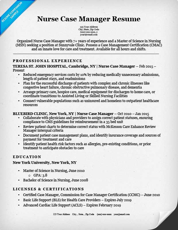 Nurse Case Manager Resume Sample  Sample Resume For Rn Position
