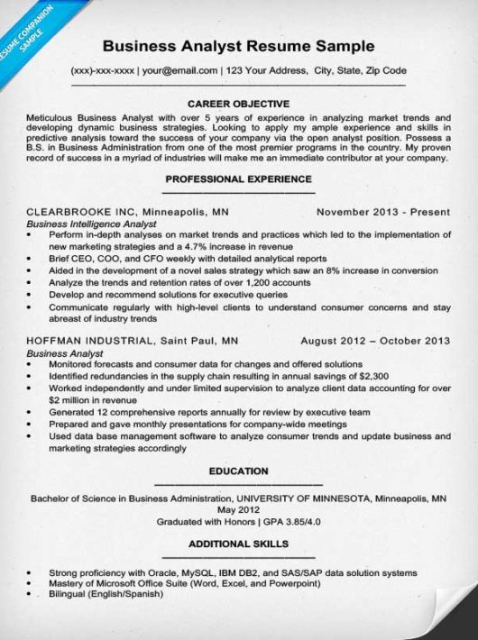 business analyst resume sample writing tips resume