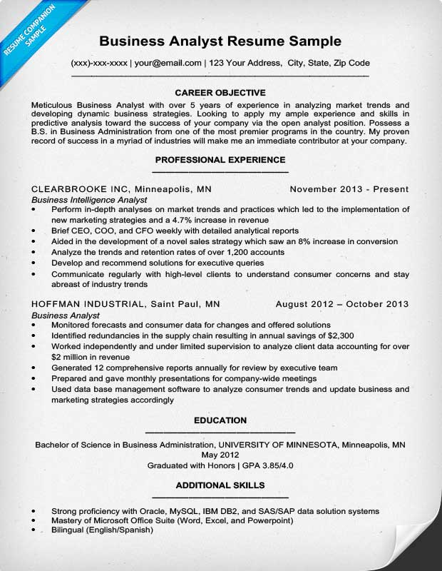 Resume Companion  Sample Business Analyst Resume
