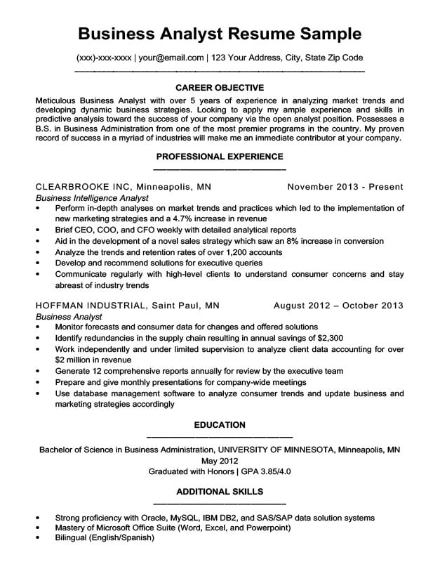 Business analyst resume sample writing tips resume companion business analyst resume sample wajeb Images