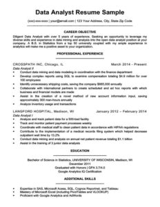 data analyst resume example download - Resume Samples Free Download
