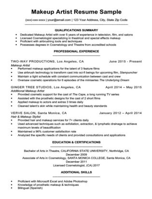 Makeup Artist Resume Sample Download