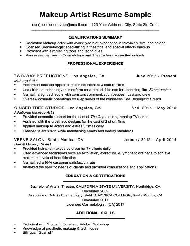 Makeup Artist Resume Sample | Resume Companion