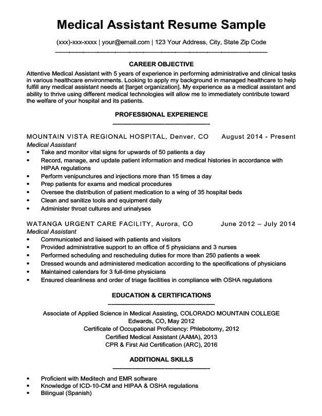 Medical Assistant Resume