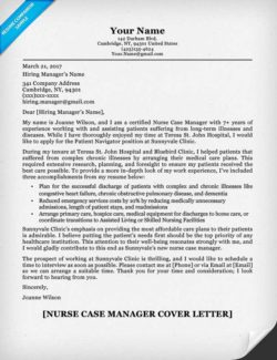 Nurse Case Manager Cover Letter Example  Example Of A Student Resume