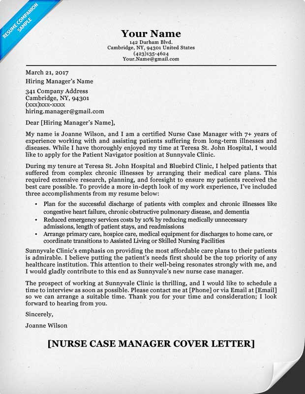 nurse case manager cover letter - Sample It Manager Cover Letter