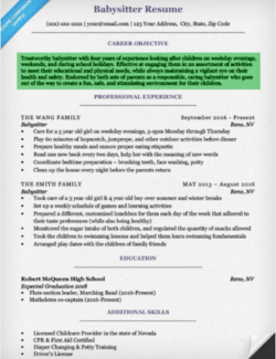 high school resume objective babysitter - High School Resume Objective Examples