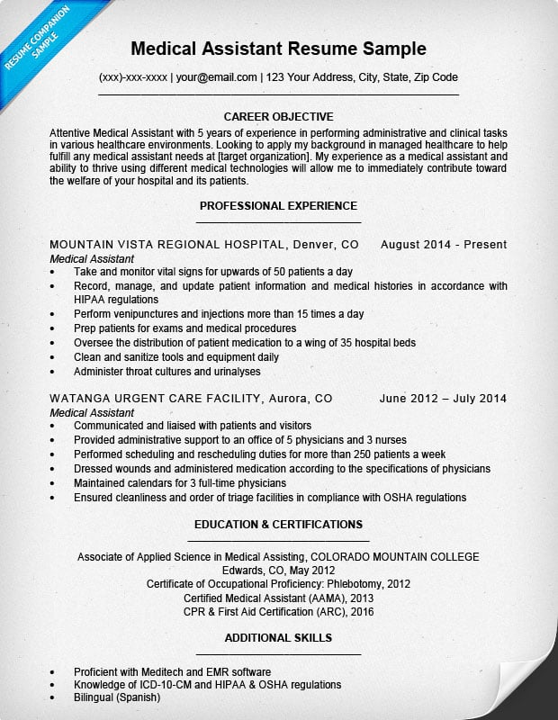 Medical Assistant Resume Sample  Sample Resume Medical Assistant