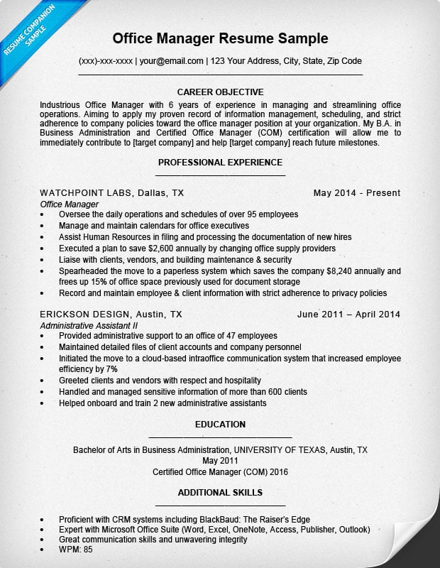 Office Manager Resume Sample  Project Manager Resume Samples