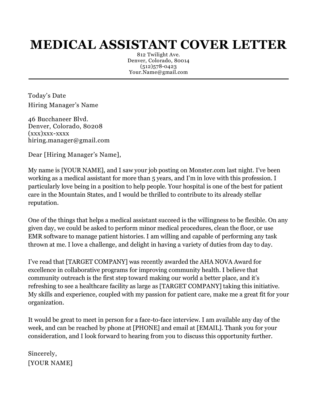 Doctor cover letter resume