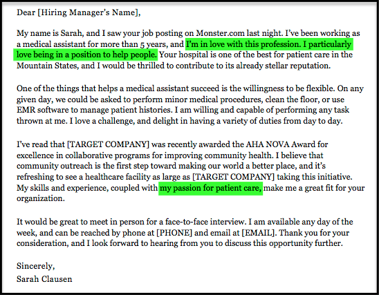 medical assistant passion for job examples. Resume Example. Resume CV Cover Letter