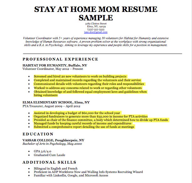 stay at home mom continuous transferrable skills - Resume For Stay At Home Mom Returning To Work Examples
