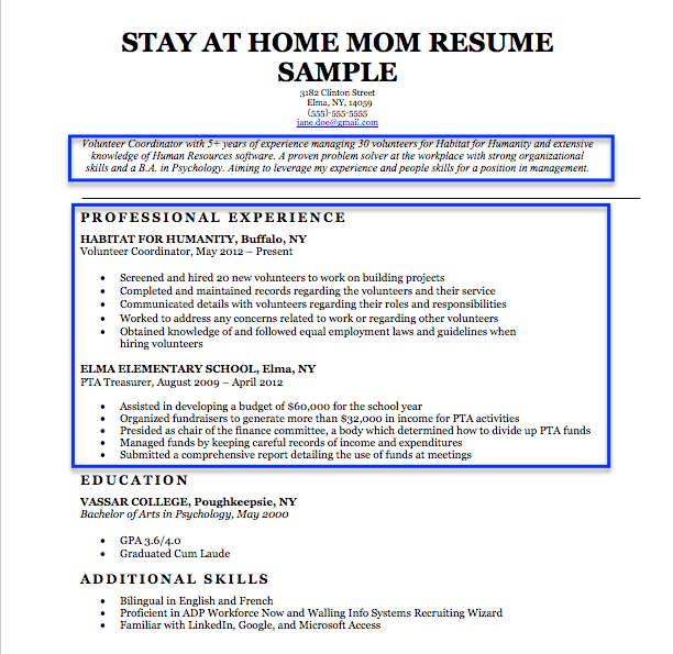 Stay At Home Mom Resume Objective Example  Stay At Home Mom Resume Resume
